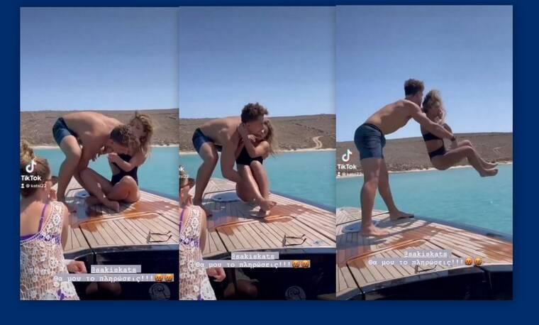 Σάκης Κατσούλης: Έριξε την Μαριαλένα στη θάλασσα - «Θα μου το πληρώσεις» - Το βίντεο θα γίνει viral