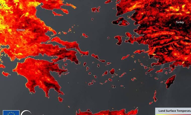 Βαρυμπόμπη: Συγκλονίζουν οι δορυφορικές εικόνες από το πύρινο μέτωπο χθες και σήμερα