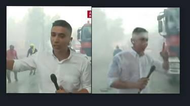 Φωτιά Βίλια: Η σοκαριστική στιγμή που ο δημοσιογράφος του ΣΚΑΙ δέχτηκε ρίψη νερού από Canadair