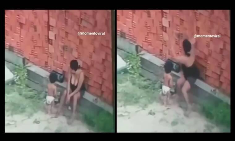 Μαμά-ηρωίδα σώζει το παιδί της την τελευταία στιγμή από τοίχο που καταρρέει