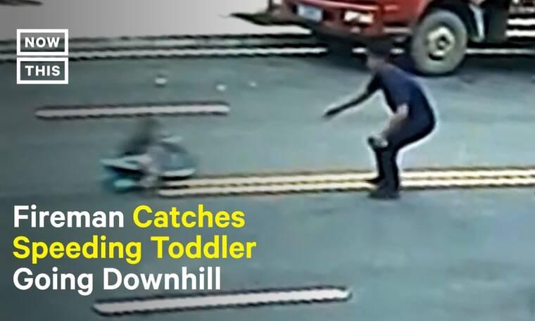 Πυροσβέστης ήρωας: Δείτε πώς έσωσε μικρό αγόρι που έφυγε σε κατηφόρα